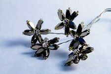 18 silver wired dark grey/green beaded flowers with diamonte centre craft flower