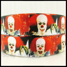 "Stephen King. IT.  Themed Ribbon.  1"" Grosgrain.  Movie. PENNYWISE the Clown"