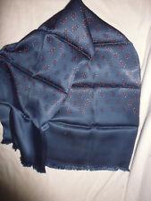 ancien foulard homme rétro vintage bleu effet soyeux petit motif