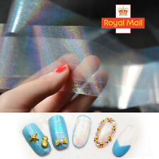 HOLOGRAPHIC SILVER DOT Nail Foil Transfer Art Glitter Stickers 3D Nails Foils UK