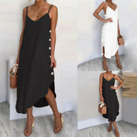 Damenmode V Neck Strap Kleid Sommerkleid Beach Party Sundress Plain Strandkleid