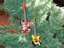 Red lead and yellow warlock bass guitar Christmas tree ornament set