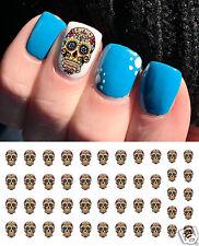 Blue Cross Sugar Skull  Nail Art Waterslide Decals - Salon Quality!