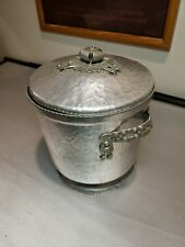 VNTG 1950 11'' DOUBLE WALL ICE BUCKET RODNEY KENT FLOWER Lid HAMMERED ALUMINUM