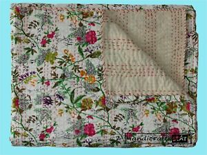 White Color Kantha Quilt Floral Print Bedspread Cotton Coverlet Bohemia Bedcover