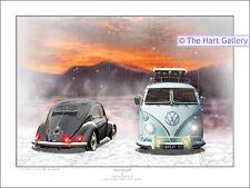 VW Volkswagen Split Splitty Screen Samba Camper Van Picture Print Picture Ltd Ed