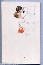 VILLANI Coppietta in amore Bacio Glamour Girl Romantic PC Viaggiata 1920 Donnina