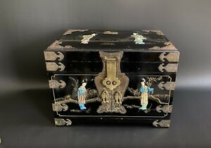 Large Antique Chinese Brass Bound 3 Drawers Jewellery Box Mother Of Pearl