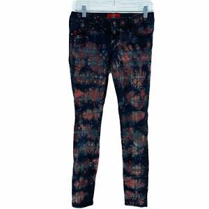 Royal Bones Plaid Punk Stretch Denim Skinny Jeans Size 3