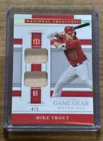 2020 NATIONAL TREASURES MIKE TROUT GAME GEAR DUAL RELIC SP /5 LA ANGELS