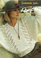 Lady's sweater jumper pullover Woman's knitting pattern in Pampos yarn.