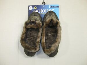 New Isotoner Women's Memory Foam Dark Gold Glittery Slippers