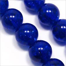 Lot de 20 Perles Craquelées en verre 12mm Bleu foncé