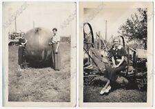 2 Photos CAGED AUTO Automobile Polo 1936 GIANT BALL Pretty Girls GRAND ISLAND NE