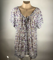 Torrid Womens Tunic Top Size 4  Purple White Floral Lace Stretch Semi Sheer Boho