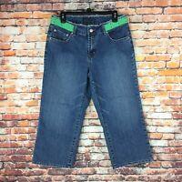 Baccini Womens Size 12 Straight Crop Dark Wash Denim Jeans