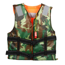 Double-sided Polyester Adult Life Jacket Universal Boating Ski Vest + Whistle