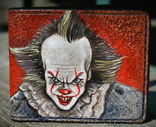 Men's 3D Genuine Leather Wallet, Hand-Carved, Tooled, Airbrush Art, Clown, It