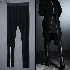 ByTheR Unique Urban Casual Black Back Silver Zipper Men's Inner Leggings Pants