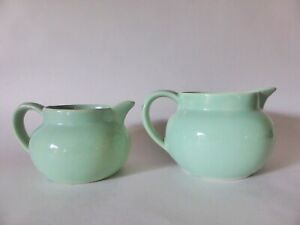 Shorter & Sons Graduated Jugs, Pair, Mint Green Pottery, Vintage China, 1940s