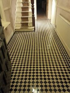 VICTORIAN OLD ENGLISH ORIGINAL STYLE FLOOR TILES  BLACK AND WHITE 50mm Per m2