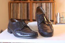 Grenson True Moccasin Bench Made Black Leather Derby Shoes Men's Size UK 8 G