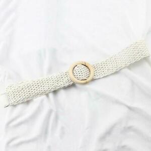 Round Wooden Buckle Elastic Straw Belt Women Braided Wide Woven Waistband Belts