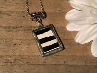 Recycled Broken Porcelain Jewelry, Black & White Striped Pendant