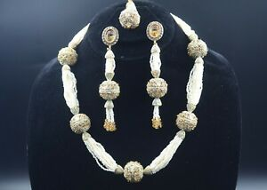 Gold Plated Necklace Earrings Tikka Ethnic Indian Heavy Tulsi Jewelry Set