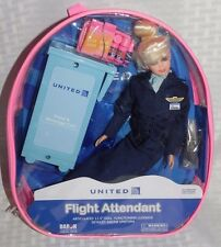 "United Airlines Blonde Flight Attendant Doll 11 1/2"" Tall  Doll NEW"
