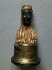 VINTAGE CARVED WOOD BLACK MADONNA OF MONTSERRAT PRIESTS FIGURINE BUST STATUE