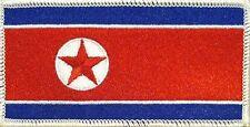 NORTH KOREA FLAG Iron-on PATCH KOREAN DPRK KING JONG UN RARE WHITE Border #02