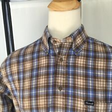 Facconable Mens Large Shirt Long Sleeve Button Up Blue Brown Plaid Oxford E2