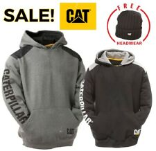 CAT Logo Panel Hooded Sweat Shirt, Hoodie, Jumper. Built for work Clearance