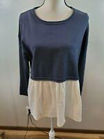 MOON MADISON Size Large Womens Shirt Peplum Hem Blue White Long Sleeve Top