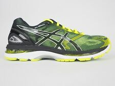 Mens Asics Gel Nimbus 19 T700N Black Safety Yellow Lace Up Running Trainers