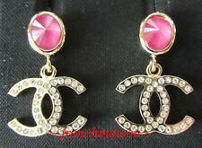 AUTHENTIC CHANEL CC Logo Gold Crystal Earrings Pink Stone Dangle New 2020 Cruise