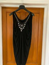 Plein Sud Jeanius Black Beaded Jewelled Tunic Vest Dress Size 10 EU 38 IT 42