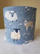 HANDMADE 20cm FABRIC LAMPSHADE FRYETTS BAA BAA SHEEP COUNTRY COTTAGE FARM BLUE