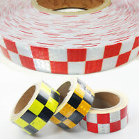 50mm x 10M High Intensity Reflective Chequer Checkered Tape Vinyl Roll Colours