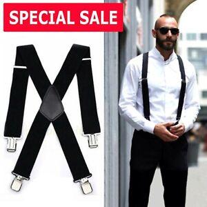 Mens Braces Suspenders Black 50mm X Back Heavy Duty Biker Snowboard Trousers