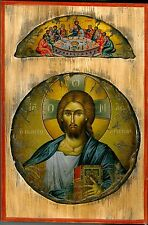 Handmade Wooden Greek Orthodox Aged Icon Painting Canvas Jesus Christ M78