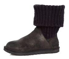 UGG Australia Cambridge Faux Fur Boot Black Gold Women Sz 6 4146 *