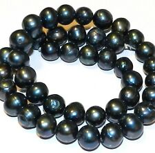 """NP225L Black Rainbow Cultured Freshwater Pearls 9-10mm Round 14.5"""""""