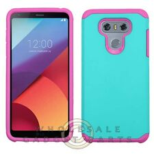LG G6 Advanced Armor Case - Teal Green/Hot Pink Cover Protector Guard Shield