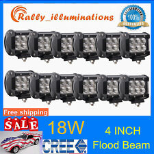 12X 18W 4''Inch LED Work Light Cree Flood Pods ATV SUV Offroad Boat Bumper RALLY
