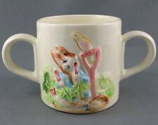 Schmid Childs Mug Tales Peter Rabbit Beatrix Potter Double handle 7oz 1987 Label