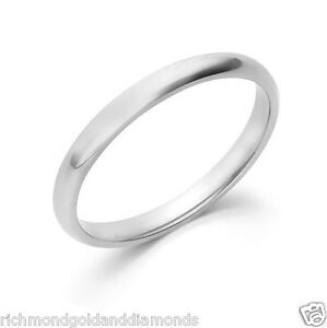 10kt Solid White Gold 2mm Size 7 Plain Men's and Women's Wedding Band Ring NEW
