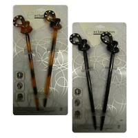 (2) Hair Sticks 2 Black or 2 Tortoise  Colored  Hair Chopstix Knot Design on Top