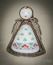Antique Dutch Solid Silver and Enamel Filigree Model of Lady Ornament